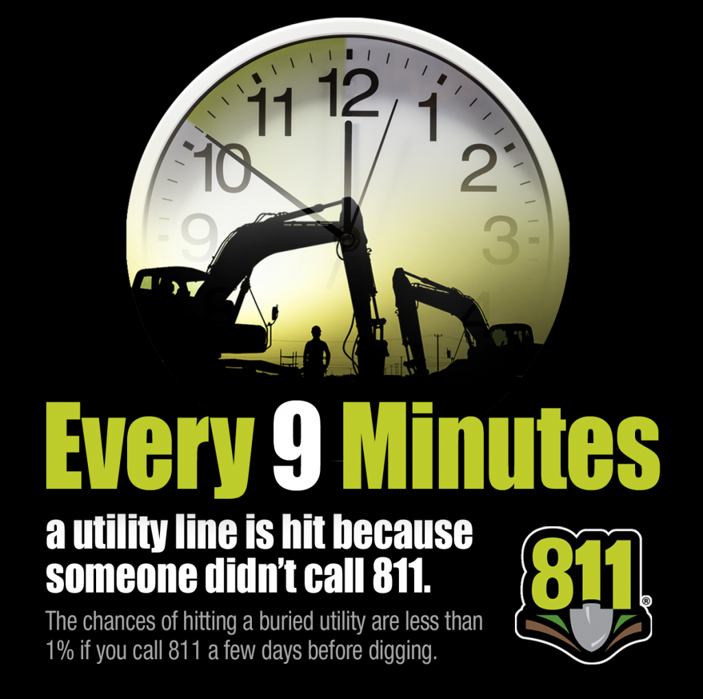 Every 9 minutes a utility line is struck because someone didn't call 8-1-1
