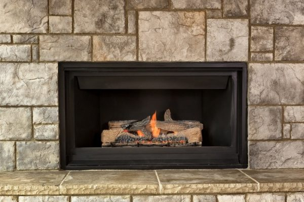 Natural gas fireplace for home